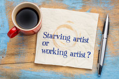 Verhungernde oder Arbeitskünstlerfrage Lizenzfreies Stockbild