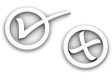 Verific e cruze marcas Imagem de Stock