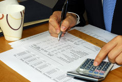 Verific o balanço financeiro da companhia pela C.A. Imagem de Stock