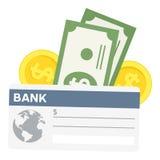Verificação de banco & ícone liso das cédulas no branco ilustração stock