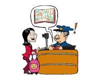 Verificação de cruzamento do passaporte da segurança da mulher asiática no aeroporto ilustração stock