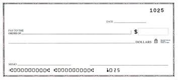 Verificação em branco com números falsos Fotos de Stock Royalty Free