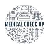 Verificação médica acima do molde do cartaz Vector a linha lisa ícones, ilustração do centro médico, equipamento dos cuidados méd Foto de Stock