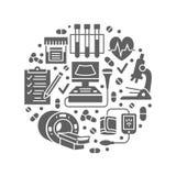 Verificação médica acima do molde do cartaz Vector os ícones lisos do glyph, ilustração do centro dos cuidados médicos, equipamen Imagens de Stock