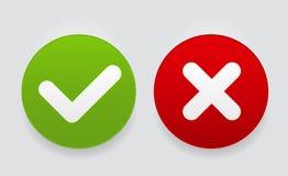 Verificação Mark Icons Button Vetora Illustration do vermelho e do verde ilustração do vetor