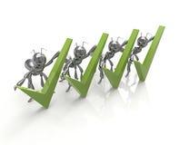 Verificação Mark verde com formigas Foto de Stock Royalty Free
