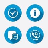 Verificação ou tiquetaque Sinal do telefonema e da informação Imagem de Stock