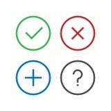 A verificação, remove, suprime, fecha-se, adiciona-se, questiona-se, ícone do FAQ no projeto liso do pixel perfeito Confirme ícon ilustração royalty free