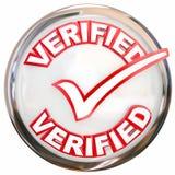 Verificação verificada Mark Inspected Certified do botão do selo Imagem de Stock