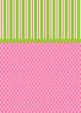 Verificações da cor-de-rosa e cartão das listras do verde Imagem de Stock