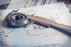 Verifica le parti meccaniche del diagramma Fotografia Stock