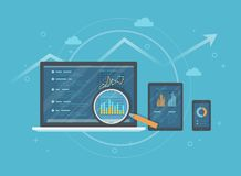 Verifica online, ricerca, concetto di analisi Web e servizio del cellulare Rapporti finanziari, grafici dei grafici sugli schermi illustrazione di stock