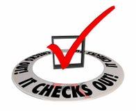 Verifica verifica para fora confirma Mark Box Answer Result Imagem de Stock Royalty Free