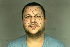 Verificación biométrica - reconocimiento de cara del hombre joven imagen de archivo libre de regalías