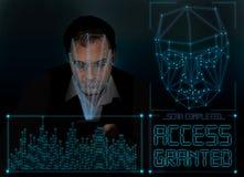 Verificación biométrica - reconocimiento de cara del hombre joven ilustración del vector