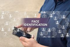Verificación biométrica, tecnología del reconocimiento de cara Identificación de la cara foto de archivo