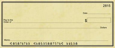 Verificación en blanco con el fondo ligero del pergamino Foto de archivo libre de regalías