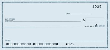 Verificación en blanco con números falsos imagen de archivo libre de regalías