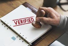 Verificado certificado afirme autorizado aprovam o conceito Fotos de Stock