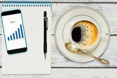 Verificando o relatório comercial quando ruptura de café imagens de stock