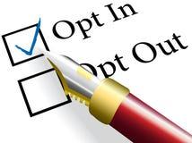 A verificação da pena escolhe Opt na opção bem escolhida Imagens de Stock
