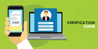 Verification code message confirmation for account Stock Photos