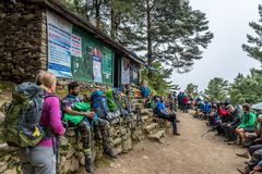 Verification of documents on a route of Lukla-Everest base camp royalty free stock images
