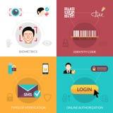 Verification Flat Set. Verification design concept set with biometrics flat icons  vector illustration Stock Photo