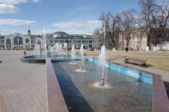 Verification inclusion of the fountain at the end of April. Noginsk. Russia. stock images
