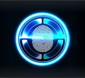 Verification Scanners. Finger Scan In Futuristic Style. Biometric Id With Futuristic Stock Image