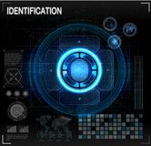 Verification scanners set.  Finger Scan in Futuristic Style. Biometric id with Futuristic HUD Interface. screen monitor background. Verification scanners set Royalty Free Stock Images