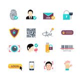 Verification secure methods flat icons set Royalty Free Stock Photos