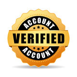 Verified account vector icon. Verified account gold vector seal icon Stock Images