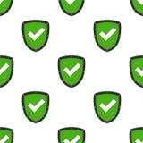 Verified Authorized Shield Seamless Pattern. A seamless pattern with a black and green verified or authorized flat shield icon, isolated on white background stock illustration