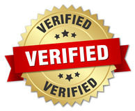 Verified gold badge with red ribbon Royalty Free Stock Photo