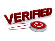 Verified. An illustration of an on/off switch connected to the word verified Stock Photo
