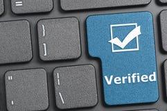 Verified key on keyboard. Blue verified key on keyboard Royalty Free Stock Photos