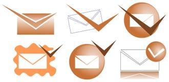 Verified mail icons Stock Photos