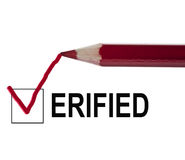 Verified message. And red pencil Royalty Free Stock Photos