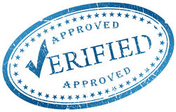 Verified stamp. Verified blue stamp isolated on white background vector illustration