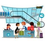 Verifique dentro o aeroporto com a senhora no contador e os passageiros do homem e da mulher com ilustração do vetor da bagagem,  Foto de Stock Royalty Free