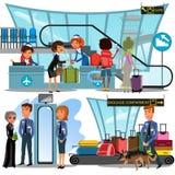Verifique dentro o aeroporto com a senhora no contador e os passageiros do homem e da mulher com ilustração do vetor da bagagem,  Fotografia de Stock Royalty Free