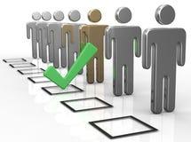 Voto da caixa de verificação para escolher a pessoa Foto de Stock