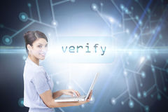 Verify against black background with glowing network Royalty Free Stock Photos