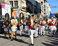 Famous Carnival and street parade at Verin with cigarrons costumes. Ourense Province, Galicia, Spain. 24 Feb 2019. royalty free stock image