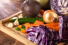Verious fresh vegetables on a wooden table, healthy food.  stock photo