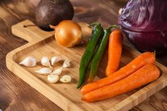 Verious fresh vegetables on a wooden table, healthy food.  stock image
