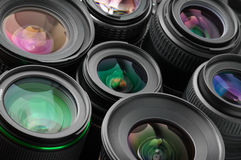 Verious photo lenses Stock Photo