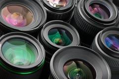 Verious photo lenses Stock Photo