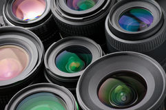 Verious photo lenses Stock Image